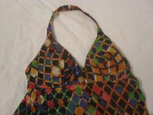 robe motif cubes vintage 70