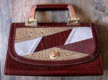 Sac de femme ancien en cuir ( crocodile) vintage