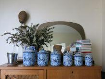Suite complète pots cuisine émaillés bleu et blanc moucheté