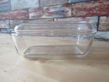 beurrier ancien en verre arcoroc decor vache