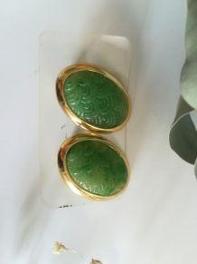 Boucle d'oreille vintage Orena Verte