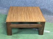 Table basse années 70 en teck et plateau formica