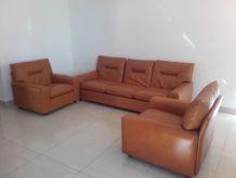 Ensemble canapé 3 places et 2 fauteuils cognac, vintage