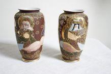 paire de vases porcelaine Satsuma vintage