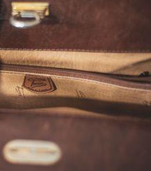 magnifique Sac Texier en cuir Vintage