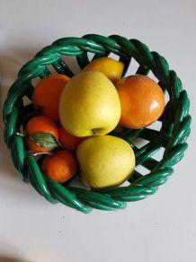 coupe à fruits vintage en céramique tressée verte années 50