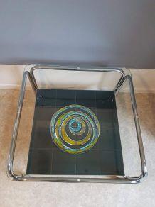 table basse vintage verre, céramique et métal chromé années