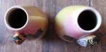 2  petits vases cigale faïence émaillée signés Louis Sicard