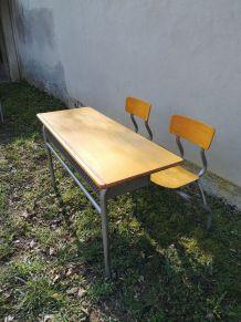 Bureau d'écolier  - Acier gris & bois