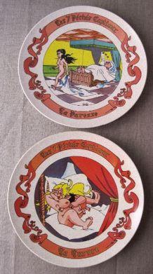"""7 assiettes humoristiques """"  signées Claude Turier"""