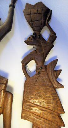 2 statuettes plates murales bois exotique art Africain 50/70