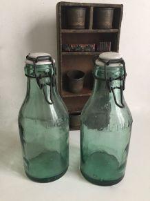 Paire de bouteilles à conserves L'IDEALE avec bouchon en por