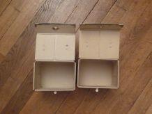 Lot de 2 Boites de Rangements Rectangulaires en Carton Beige