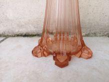 Soliflore ancien en verre rose