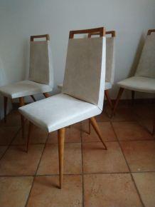 Set de quatre chaises chaises vintage blanches