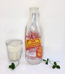 """bouteille de lait publicitaire """"thé lipton"""" 1950"""