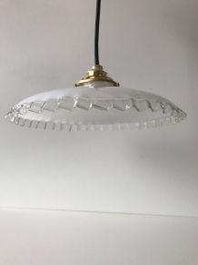 Suspension vintage en verre blanc
