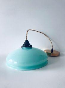 suspension luminaire vintage en verre bleu menthe