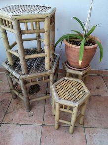 Ensemble de 4 tables bambou