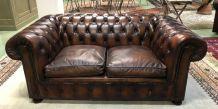 Canapé Chesterfield en cuir marron - années 70