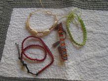 4 bracelets perles et coquillages