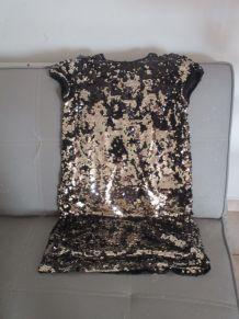 robe fille 12ans paillettes noire et doré