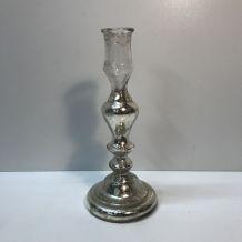 Bougeoir ancien en verre argenté au mercure / églomisé - XIX