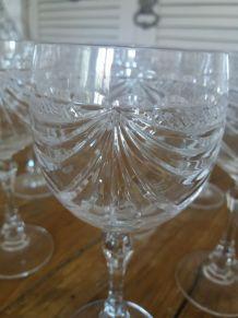 Lot de 12 verres en cristal