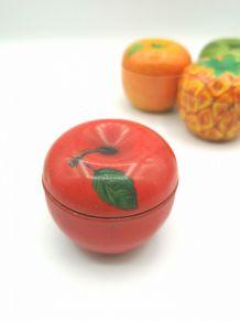 Lot 4 boites métal fruits