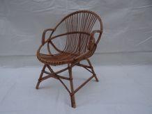 Paire fauteuils rotin années 60