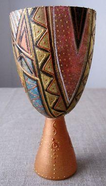 Ciboire en verre décoratif peint à la main -