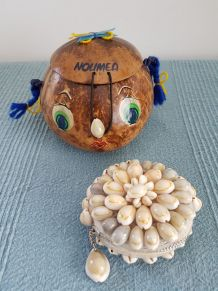 Petit sac noix de coco et porte monnaie coquillages