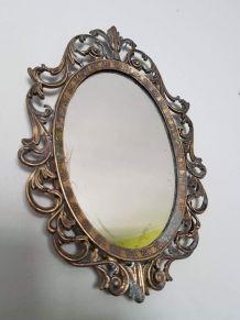 ancien petit miroir mural art déco laiton