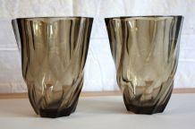 Duo de vase en verre fumé Luminarc – circa 70
