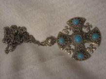 ancien pendentif croix Jérusalem et chaîne argent