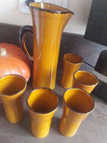 Service ancien orangeade avec 5 verres