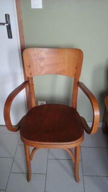 Fauteuil chaise bridge percé années 50