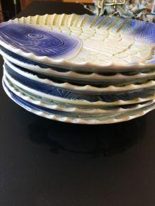6  assiettes poisson sarguemine vintage