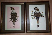 Tableau vintage en ailes de papillons, perroquets