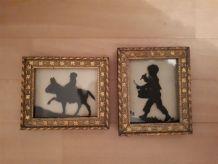 Paire de cadre doré - silhouettes enfants