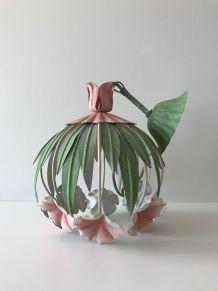 Suspension lustre vintage fleurs en métal
