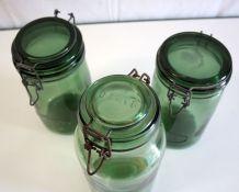 Bocaux en verre vert (lot de 3) – années 50