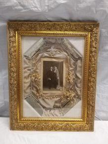 Ancien cadre de mariage avec la couronne  1900
