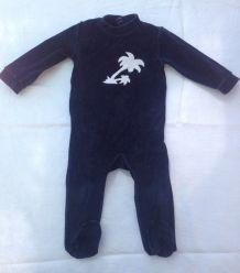 Pyjama velours bleu nuit motif palmier 9 mois