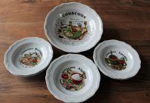 Service à couscous porcelaine 6 assiettes 1 plat