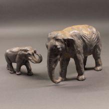 éléphants incamin en plomb  - Elastolin Linéol