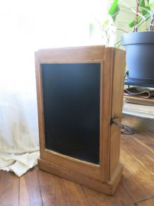 Petit meuble mural d'entrée bois & ardoise vtg