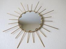 Ancien miroir soleil sorcière metal doré a l'or fin 50s
