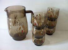 Service carafe et verres vintage