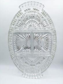Plat ovale en verre moulé pressé compartimenté